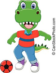 funny dinosaur cartoon playing football