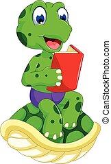 funny frog cartoon reading book - vector illustration of...