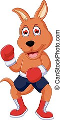 cute boxing kangaroo cartoon - vector illustration of cute...