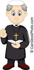 cartoon christian priest - vector illustration of cartoon...