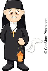 cartoon catholic priest - vector illustration of cartoon...