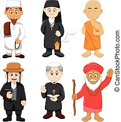 collection of religious leader cartoon - vector illustration...
