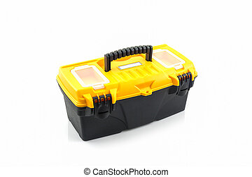 Yellow tool box, Plastic tool box. - Yellow tool box,...