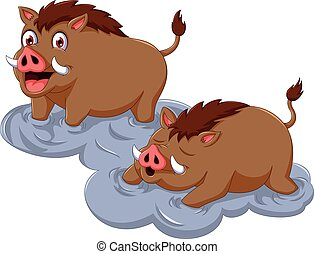 funny wild boar cartoon sitting with her baby - vector...