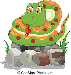 cute snake cartoon on the stone - vector illustration of...