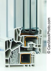 Model of a window frame - Cutaway model of a plastic window...