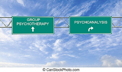 Road sign to psychotherapy