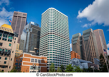 Modern skyscrapers in the Financial District, in Boston, Massachusetts.