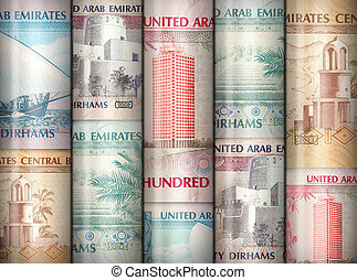 Money Wall - Different money bills stacke over each other...