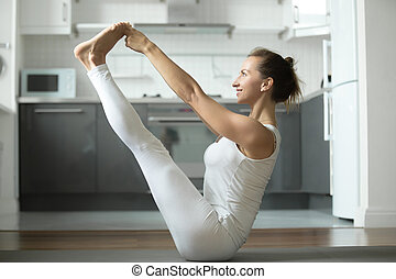 Both big toe exercise - Sporty attractive woman practicing...