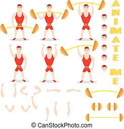 Cartoon man barbell exercises squat, deadlift, overhead...