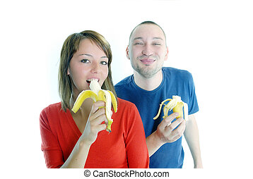 happy couple with bananas