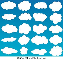 Clouds vector icons isolated over blue background - Clouds...