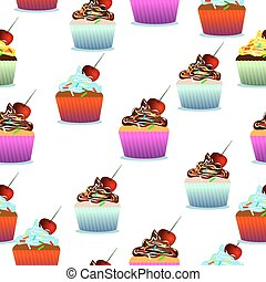 Vector seamless pattern. Pastry, cute cupcakes, lollipops....