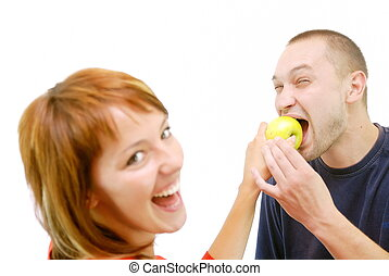 healthy couple with apple - healthy couple with eating apple