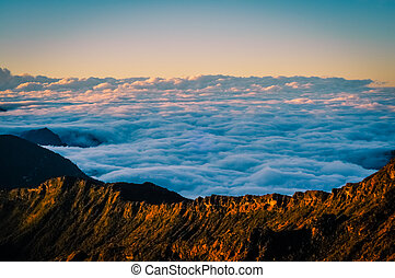 Sea of clouds - Photo from top of mountain, white clouds and...