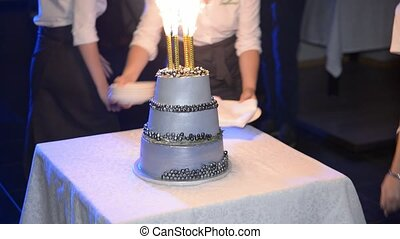 wedding cake on the table - wedding cake with candles...