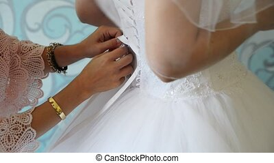 woman preparing for wedding in the hotel