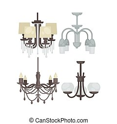 Lamp set isolated. Interior light design. Electricity lamps....