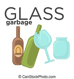 Glass garbage and trash sorting. - Broken glass, jar and...