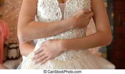 woman preparing for wedding in the room