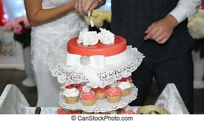 Cutting wedding cake - Cutting and folding plates on the...