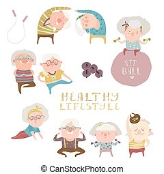 Sey of elderly people doing exercises - Vector set of...