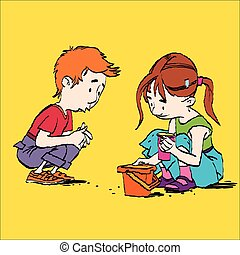 Boy and girl playing in the sandbox, color caricature...