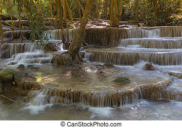 Deep forest multiple layer blue stream waterfall, natural...