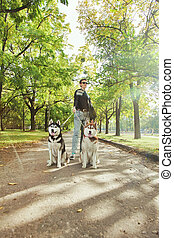 Young girl with two dogs Husky walking through the park