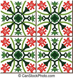 Ceramic tile pattern of red flower green calyx
