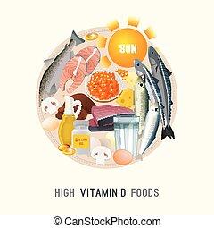 Vitamin D in Food - Vitamin D in food. Beautiful vector...