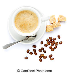 cup of coffee and brown sugar on white background