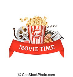 Cinema movie vector poster design template. Popcorn, filmstrip, clapboard, tickets. Movie time background banner with red ribbon