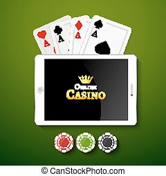 Online casino design poster banner. Tablet with poker chips...