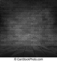 Vector brick wall design template. Old dark wall texture with floor background