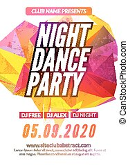 Modern Club Music Party Template, Night Dance Party Flyer, brochure. Night Party Club sound Banner Poster
