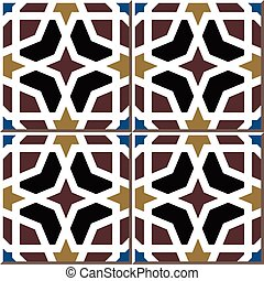 Ceramic tile pattern of Islamic octagon frame cross star
