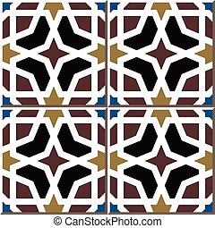 Ceramic tile pattern of Islamic octagon frame cross star