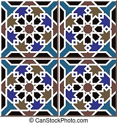 Ceramic tile pattern of Islamic star cross frame