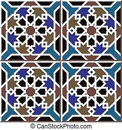 Ceramic tile pattern of Islamic star cross frame