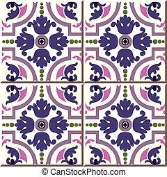 Ceramic tile pattern of velvet purple pink spiral cross flower kaleidoscope