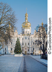 Lavra in winter - Cathedral of the Dormition during...