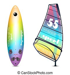Windsurf equipment. Sailing board. Sail and mast different colors.