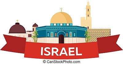 Travel to Israel, Jerusalem Poster skyline. Wailing wall....