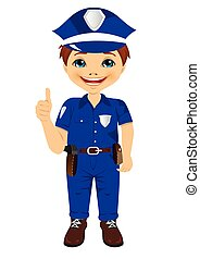 smiling little boy wearing police uniform giving thumbs up...