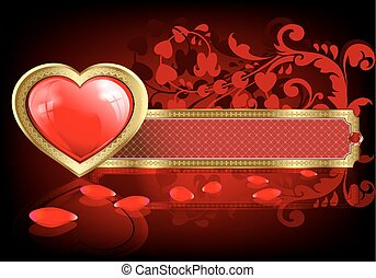 red design with hearts and rose petals
