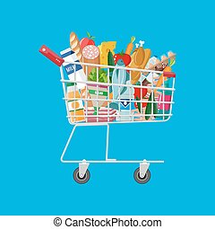 metal shopping cart full of groceries products
