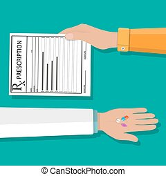 hand holds prescription rx form and pills - hands holds a...