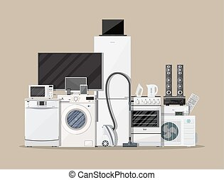 Household Appliances and Electronic Devices on brown...